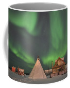 Northern Lights Above Village Coffee Mug