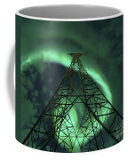 Powerlines And Aurora Borealis Coffee Mug