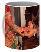 Putting The Gold And Diamond Engagement Ring On The Finger Of The Lady Coffee Mug