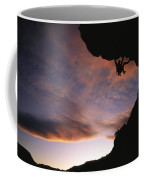 Rock Climbing Out A Steep Roof In Sinks Coffee Mug