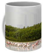 Roseate Spoonbills Ajaia Ajaja Feed Coffee Mug by Tim Laman