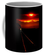 Scenic View Of An Approaching Trrain Near Sunset Coffee Mug