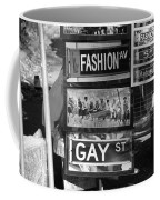 Signs Of New York In Black And White Coffee Mug by Rob Hans