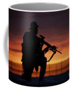 Silhouette Of A U.s Marine On A Bunker Coffee Mug