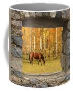 Stone Window View And Beautiful Horse Coffee Mug