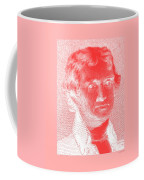 Thomas Jefferson In Negative Red Coffee Mug by Rob Hans