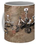 Three Generations Of Mars Rovers Coffee Mug
