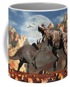 Tyrannosaurus Rex And Triceratops Meet Coffee Mug