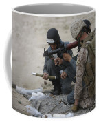 U.s. Marine Watches An Afghan Police Coffee Mug