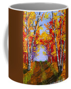 White Birch Tree Abstract Painting In Autumn Coffee Mug
