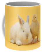 White Rabbit And Bantam Chick On Yellow Coffee Mug