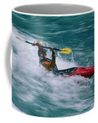 Whitewater Kayaker Surfing A Standing Coffee Mug