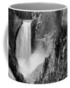 Yellowstone Waterfalls In Black And White Coffee Mug