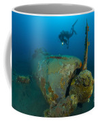 Diver Explores The Wreck Coffee Mug