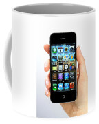 Hand Holding An Iphone Coffee Mug