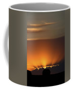 Setting Sun Peaking Out From Storm Clouds In Saskatchewan Coffee Mug