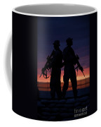 Silhouette Of U.s Marines On A Bunker Coffee Mug