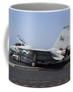 An F-14d Tomcat On The Flight Deck Coffee Mug