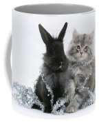 Kitten And Rabbit Getting Into Tinsel Coffee Mug