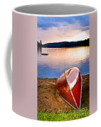 Lake Sunset With Canoe On Beach Coffee Mug