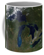 Satellite View Of The Great Lakes Coffee Mug by Stocktrek Images