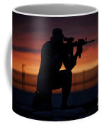 Silhouette Of A U.s Marine On A Bunker Coffee Mug