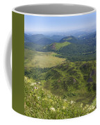 View From Puy De Dome Onto The Volcanic Landscape Of The Chaine Des Puys. Auvergne. France Coffee Mug