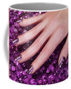 Woman Hand With Purple Nail Polish Coffee Mug