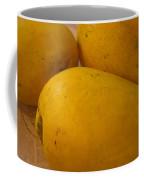 3 Yellow And Luscious Mangos On A White Sheet Coffee Mug