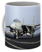 An F-14d Tomcat On The Flight Deck Coffee Mug