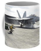 An Fa-18f Super Hornet Launches Coffee Mug