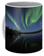 Aurora Borealis Over Long Lake Coffee Mug
