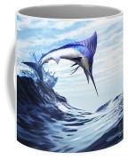 A Beautiful Blue Marlin Bursts Coffee Mug