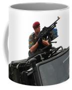 A Belgian Paratrooper Manning A Fn Mag Coffee Mug
