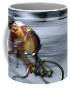 A Bicyclist Speeds Past In A Race Coffee Mug
