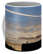 A Bird Outlined Against The Setting Sky At Dover Castle Coffee Mug
