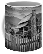 A Black And White Photograph Of An Appalachian Mountain Cabin Coffee Mug
