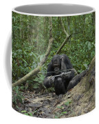 A Chimp At A Termite Mound Fishing Coffee Mug by Ian Nichols