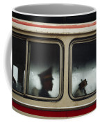 A Chinese Pla Soldier Sits On A Bus Coffee Mug by Justin Guariglia