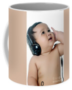 A Chubby Little Girl Listen To Music With Headphones Coffee Mug