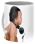 A Chubby Little Girl With Headphones Coffee Mug