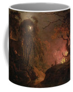 A Cottage On Fire At Night Coffee Mug