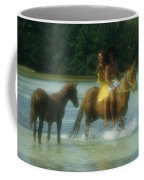 A Couple Rides A Horse In A Shallow Coffee Mug