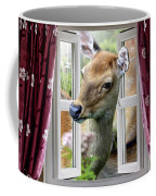 A Deer Enters The House Window. Coffee Mug