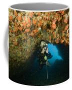 A Diver Explores A Cavern With Orange Coffee Mug