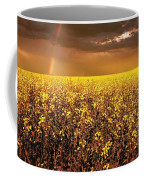 A Field Of Canola With A Rainbow Coffee Mug