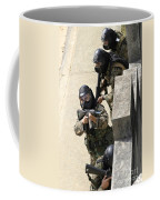 A Fire Team Returns Fire From A Balcony Coffee Mug