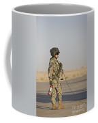 A Flight Crew Member Stands Coffee Mug