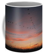 A Flock Of Common Cranes Flying Coffee Mug