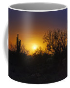 A Golden Saguaro Sunrise Coffee Mug